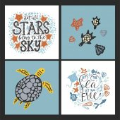 Vector sea cards set with handdrawn sea animals and ornate lettering pieces with a lot of detailed elements Summer illustrations