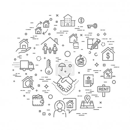 Illustration for Outline web icons set - Real Estate. Immovables - Royalty Free Image