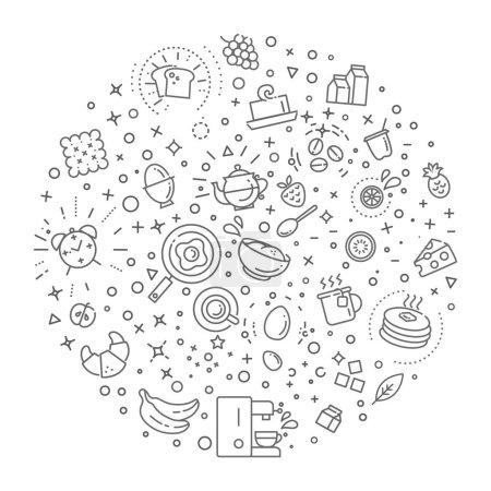 Frühstück Konzept Illustration dünne Linie flaches Design