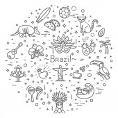Brazil icon set Flat design