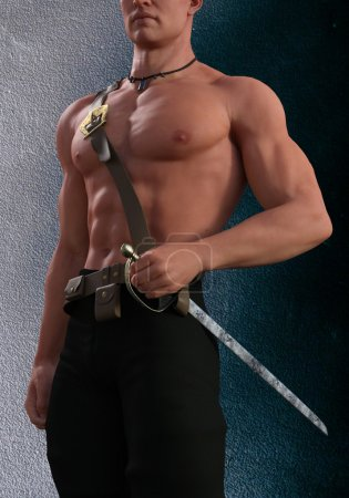 3d render of man's chest and holding a sword...