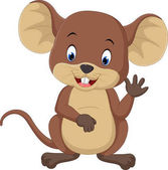 Roztomilé myši karikatura mává