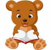 Roztomilý medvěd čtení knihy kreslený
