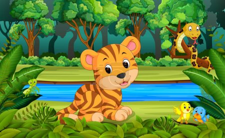 Illustration for Tiger in the forest - Royalty Free Image