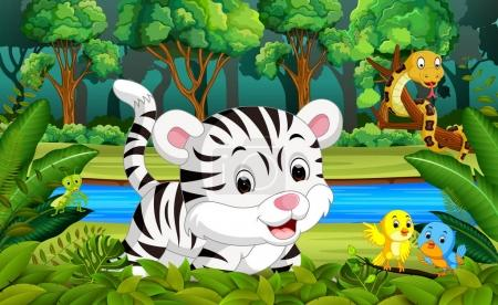 Illustration for White Tiger in the forest - Royalty Free Image