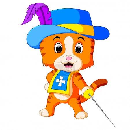 Illustration pour Illustration de mousquetaire chaton avec épée - image libre de droit
