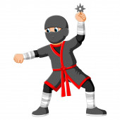 Young boy wearing a costume of ninja