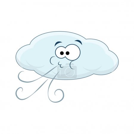 Illustration for Cute cartoon cloud blows wind. Vector illustration isolated on white background. - Royalty Free Image