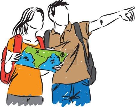 Illustration pour Touristes avec une illustration de carte - image libre de droit