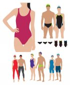 professional swimming suits models illustration