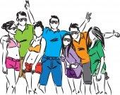 Happy people together illustration