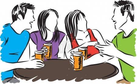Illustration pour Groupe d'amis boire illustration vectorielle - image libre de droit