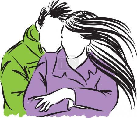 Illustration pour Couple homme et femme câlin vectoriel illustration - image libre de droit