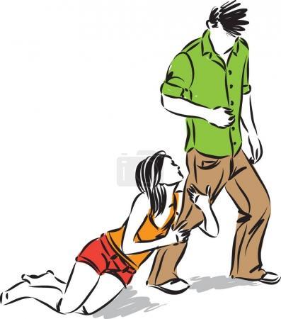 Illustration pour Épouse suppliant mari concept vecteur illustration - image libre de droit