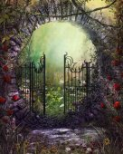 Enchanting Old Garden Gate with Ivy and Flowers