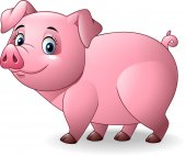 Vector illustration of Cartoon pig isolated on white background