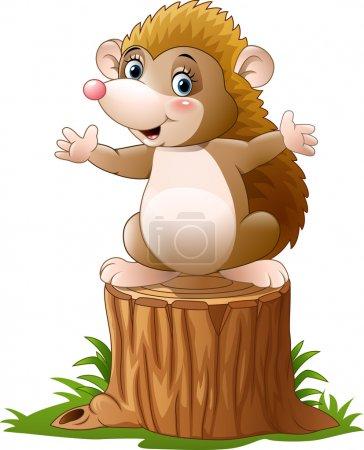 Cute hedgehog cartoon on the tree stump