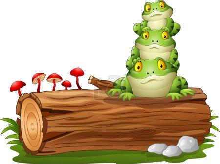 Illustration pour Illustration vectorielle de grenouille dessin animé empilée sur un tronc d'arbre - image libre de droit