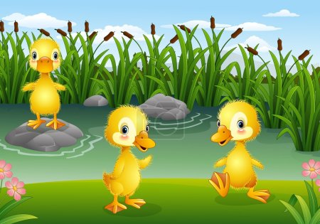 Cartoon little ducklings playing in the pond