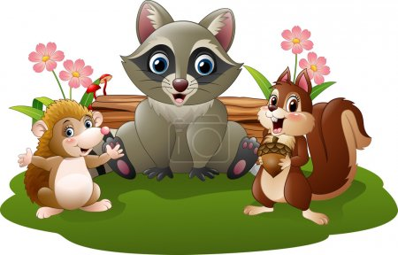 Illustration for Vector illustration of Cartoon funny hedgehog, raccoon and squirrel - Royalty Free Image