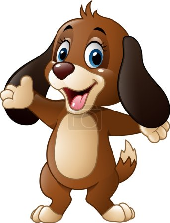 Illustration for Vector illustration of Cute dog presenting - Royalty Free Image