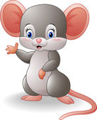 Cartoon mouse waving hand