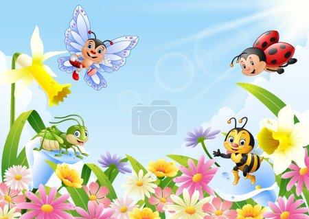 Illustration pour Illustration vectorielle d'insectes caricaturaux sur un champ de fleurs - image libre de droit