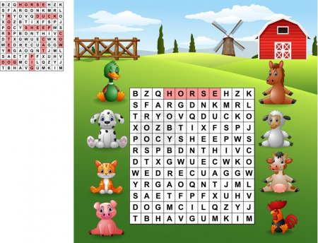 Word search puzzle about farm animals