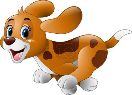 Illustration for Vector illustration of Cartoon little dog running - Royalty Free Image