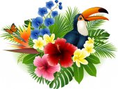 Cartoon toucan and butterfly with flowers and leaves background