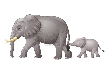 Illustration for Vector illustration of Cute mother and baby elephant - Royalty Free Image