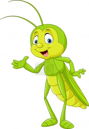Cartoon grasshopper presenting