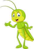Vector illustration of Cartoon grasshopper presenting
