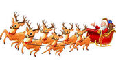 Vector illustration of Santa Claus rides reindeer sleigh on Christmas