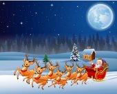 Santa Claus rides reindeer sleigh in Christmas night