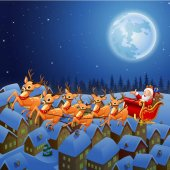 Vector illustration of Santa Claus riding his reindeer sleigh flying in the sky