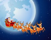 Vector illustration of Santa Claus rides reindeer sleigh against a full moon background