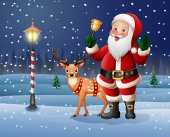 Vector illustration of Christmas background with Cartoon Santa Claus ringing bell
