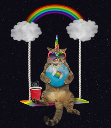 Photo pour The beige cat unicorn in rainbow heart shaped sunglasses with a blue bitten donut and a cup of coffee is riding on the cloud swing at night. Stars background. - image libre de droit