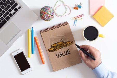 Photo pour Texte de valeur, business Concept - image libre de droit