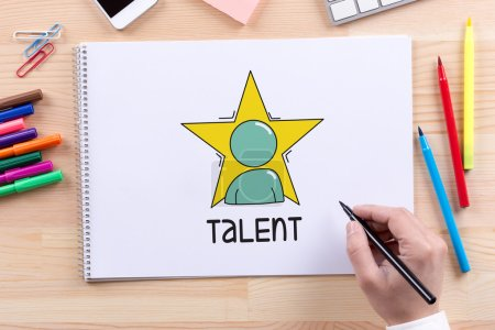 Photo for HUMAN RESOURCES RECRUITMENT CONCEPT. Talent text on paper - Royalty Free Image