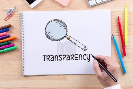 Transparenztext auf Papier