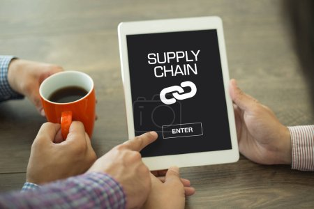 Photo for SUPPLY CHAIN CONCEPT  on screen of device - Royalty Free Image