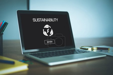 Photo for SUSTAINABILITY CONCEPT on screen of device - Royalty Free Image