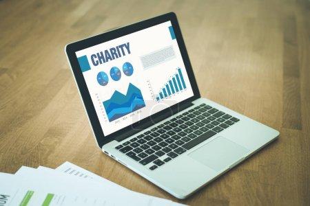 Photo pour Affaires diagrammes graphiques à l'écran avec la notion d'organisme de bienfaisance - image libre de droit