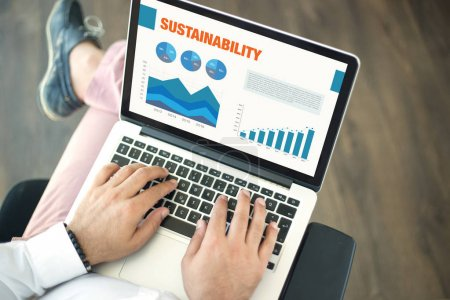 Business Charts and Graphs on screen with SUSTAINABILITY Title