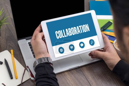 COLLABORATION TEXT ON SCREEN