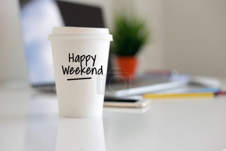 Photo for Happy Weekend Coffee Cup Concept - Royalty Free Image
