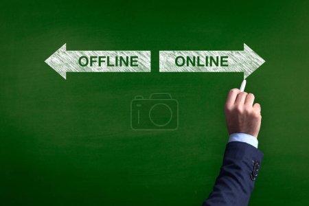 Photo pour Tableau noir montrant les directions vers le hors ligne et en ligne - image libre de droit