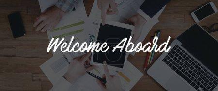 Photo pour Bannière de business teamwork Bienvenue à bord d'un Concept - image libre de droit